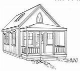 Cottage Chapel Drawing Drawings Plan Sketch Plans Porch Exterior Building Builder 14x24 Cabin Anti Countryplans Start sketch template
