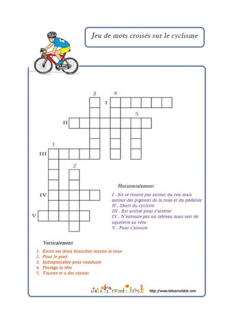 jeu de mots croises sur le cyclisme jeux tête à modeler