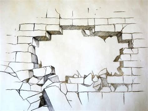 brick wall drawing how to draw a broken brick wall 3d