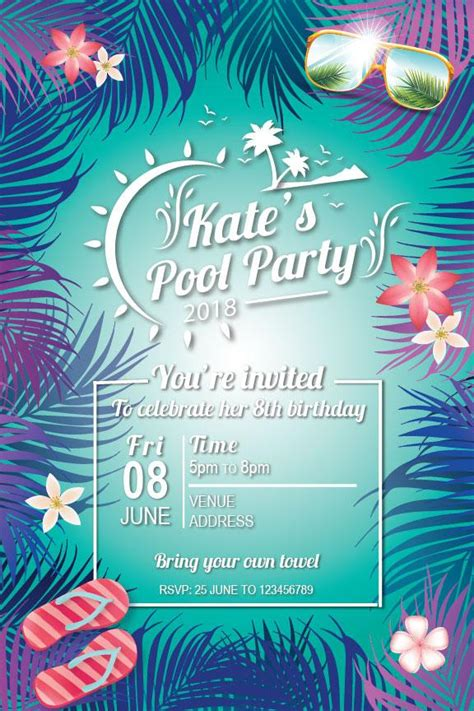 summer pool birthday party invitation