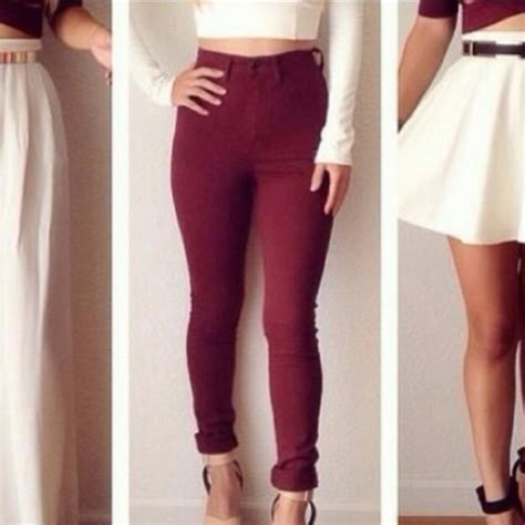 Maroon High Waisted Jeans - Is Jeans