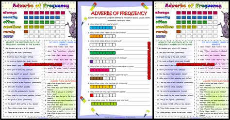 frequency adverbs esl printable worksheets  exercises