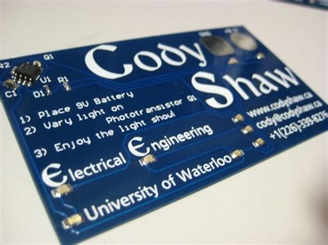 engineer makes light up business cards with 555 timer proves pcb skills