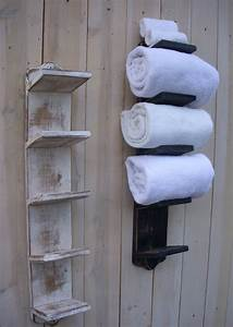 Handmade Bathroom Towel Holder Rack Bath Decor Wood