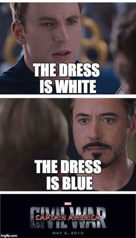 Civil War Meme - captain america civil war 4 pane captain america vs iron man what color is this dress