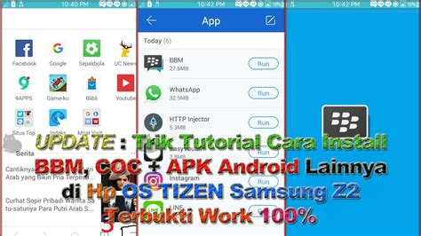 trik tutorial cara install bbm coc semua apk android di hp os tizen samsung z2 terbukti work