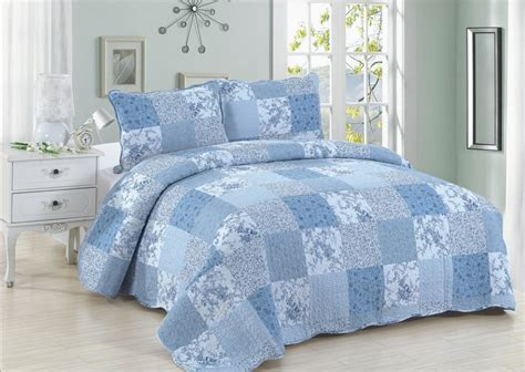 King Size Quilt And Shams blue patch quilt set king size american hometex quilts