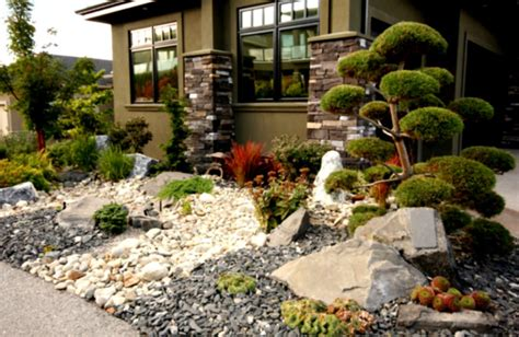 wonderful desert rock landscaping ideas with cool green