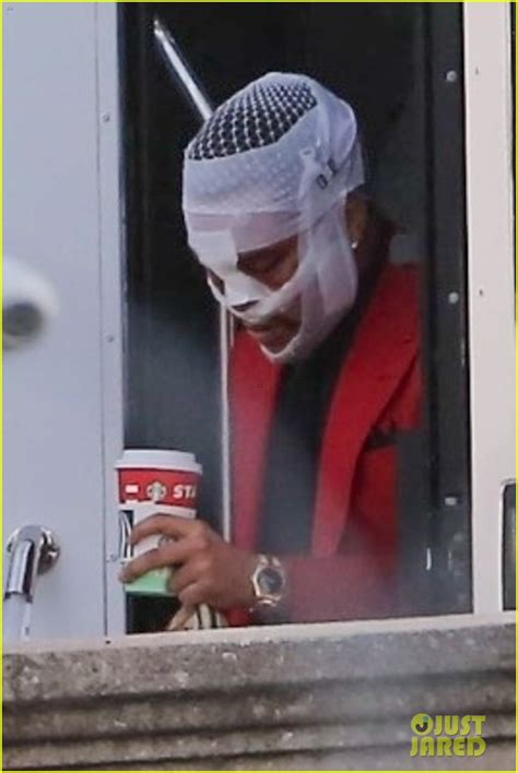 weeknds head  covered  bandages  filming