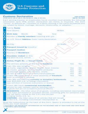 u s customs declaration form fill online printable