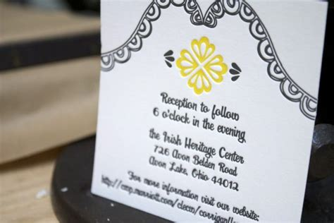 kevin s modern yellow and black letterpress wedding invitations - Wedding Ceremony And Reception At Different Locations