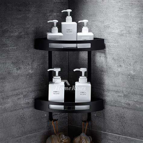 designer black bathroom shelves corner wall mount