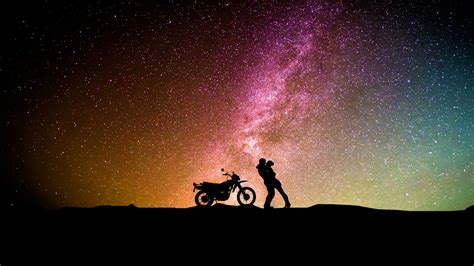 wallpaper couple silhouette motorcycle girl friend