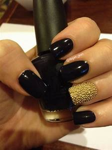 black and gold fingernails | Gold & Black Caviar Nails ...