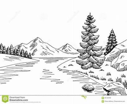 River Mountain Landscape Sketch Illustration Graphic Vector