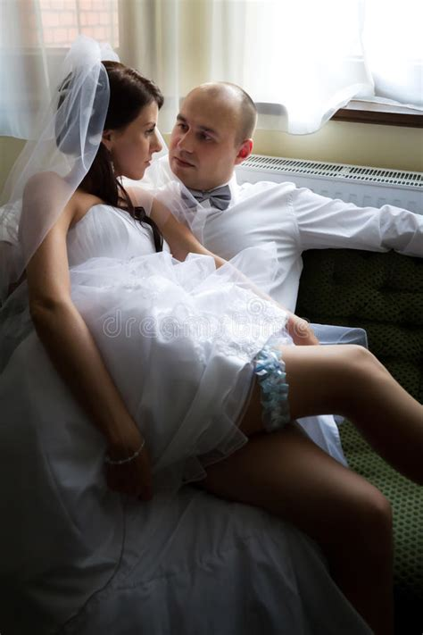 bride  groom   sofa stock photo image  male