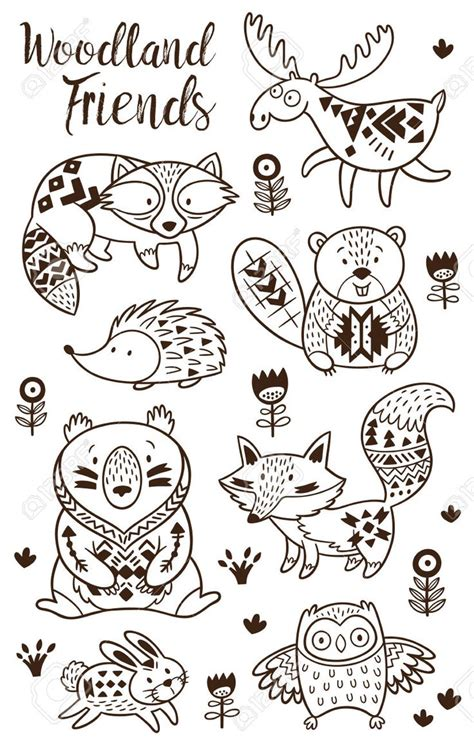 woodland animal coloring pages  kids hand drawn vector