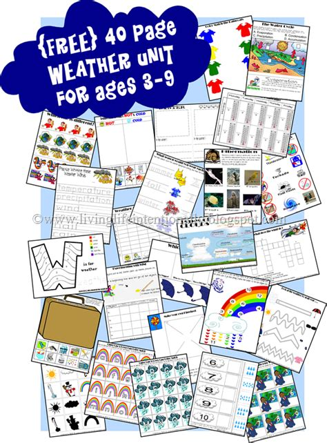 weather unit printables pre kth  homeschool