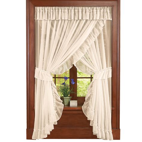 collections etc ruffled sheer fabric curtain set