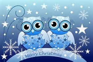 quot blue owls merry text card quot greeting cards by walstraasart redbubble