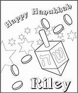 Dreidel Coloring Hanukkah Frecklebox sketch template