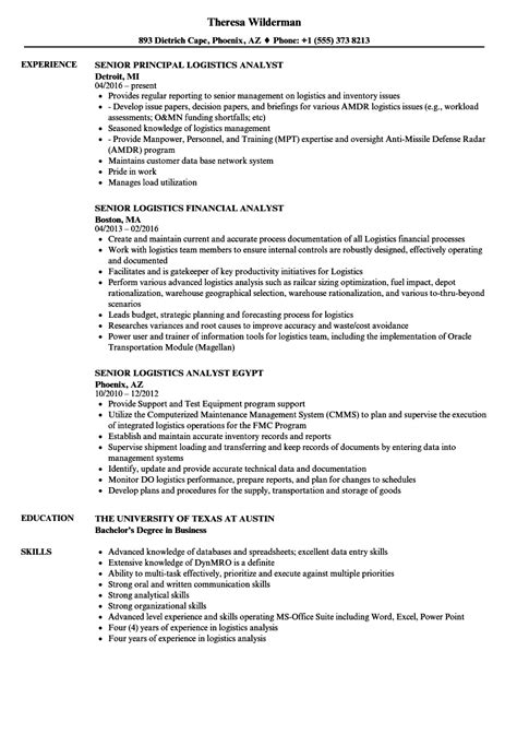 logistics analyst senior resume sles velvet