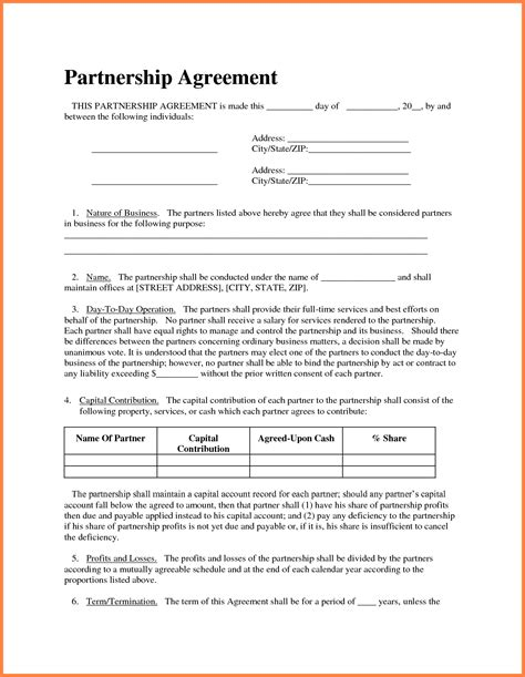 business partnership agreement template purchase