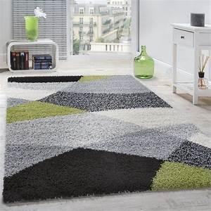 Teppich Grün Grau : shaggy geometrisch gemustert grau gr n hochflor teppiche ~ Avissmed.com Haus und Dekorationen