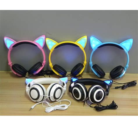 headphones with light up cat ears foldable cat ear headphones with flashing led light