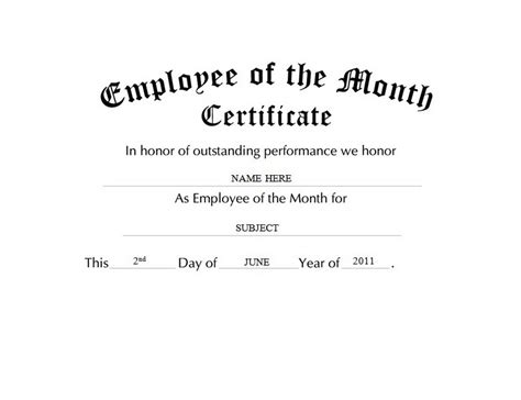 Employee Of The Month Certificate Template by Awards Certificates Free Templates Clip Wording