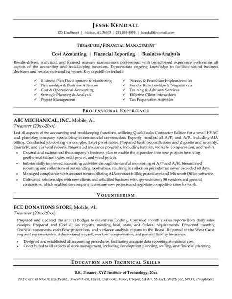 exle treasurer resume free sle