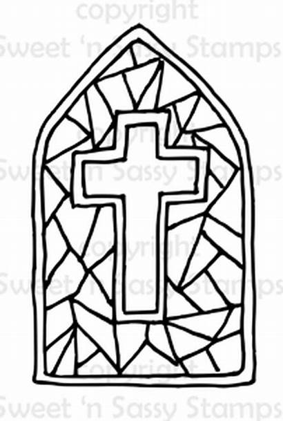 Stained Glass Cross Coloring Pages Digital Stamps