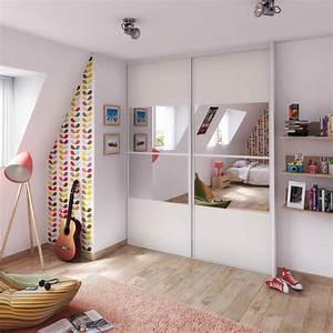 porte de placard coulissante effet frene blanc miroir With porte de placard coulissante miroir