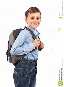 School kid with backpack stock image. Image of isolated ...