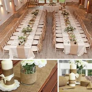 Vintage Burlap Jute Table Runner Hessian Roll For Wedding