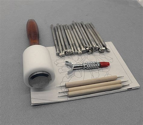 piece hammer embossing tools set manual leather carving