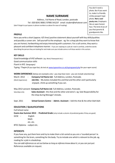 resume completed year 12 year 11 model cv template exle profiles by barbara50 teaching resources tes