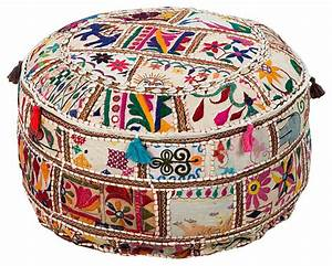 Pouf Rose Pale : bohemian appliqued pouf mediterranean floor pillows and poufs by bliss home design ~ Teatrodelosmanantiales.com Idées de Décoration