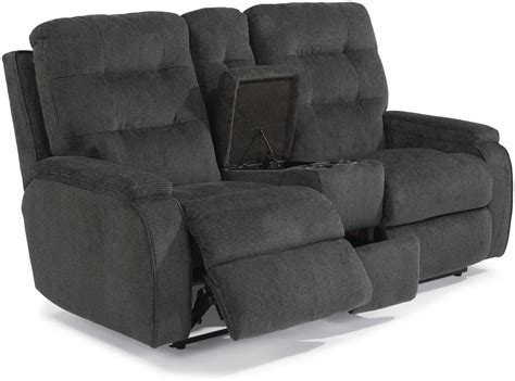 Loveseat Images by Flexsteel Fabric Power Reclining Loveseat With Console
