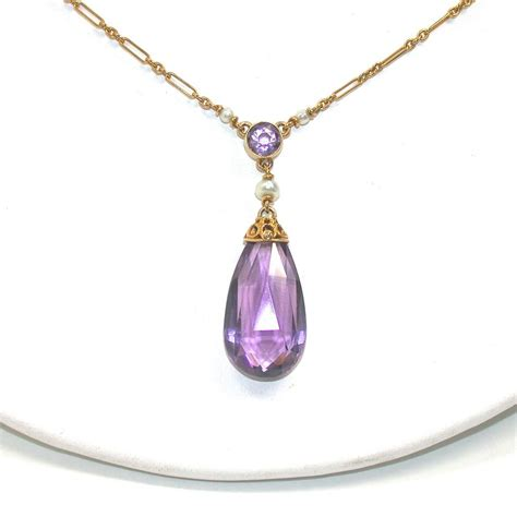 pearl and pendant necklace amethyst pendant necklace from ellenring on ruby