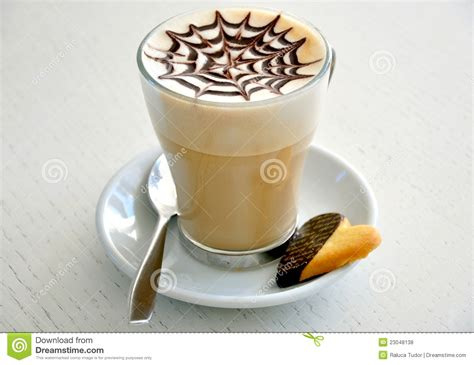 cuisine cappuccino cappuccino and cookie breakfast stock photo