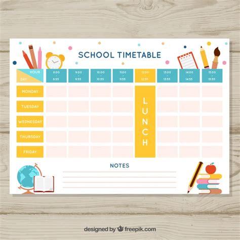 belo modelo de horario escolar baixar vetores gratis