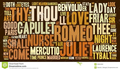 Romeo And Juliet Word Cloud Stock Illustration Image