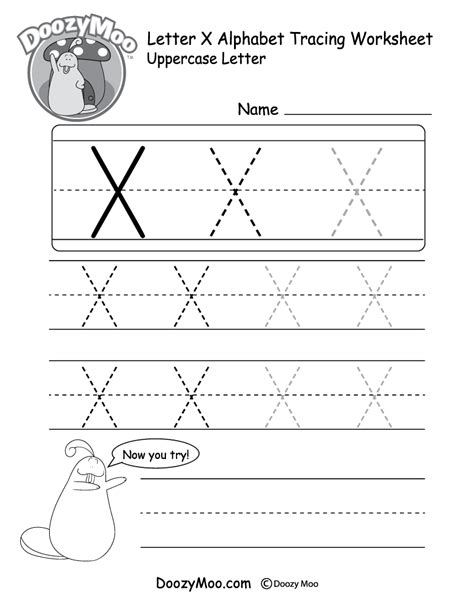 uppercase letter x tracing worksheet doozy moo