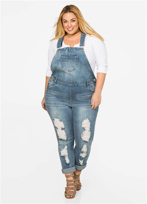 Plus SizeSkinny Destructed Overall Jeans