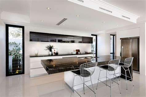 galley white kitchen  black benchtops google search