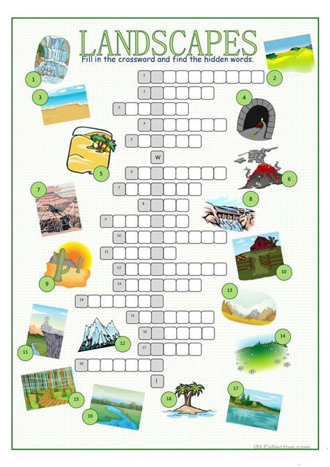 landscapes crossword puzzle worksheet  esl printable