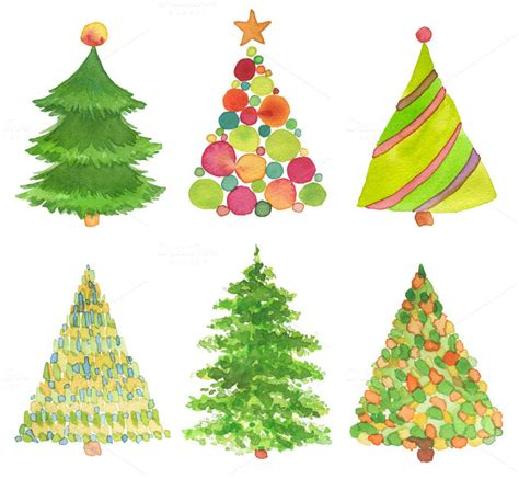 set of watercolor christmas tree holiday photos on