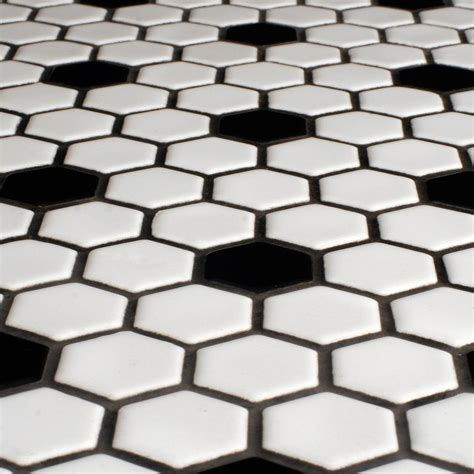 black white mosaic floor tiles glazed hexagon tile with black hex accents were also popular the darker grout really adds