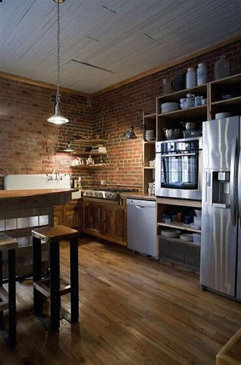 impressive kitchens  brick walls  ceilings